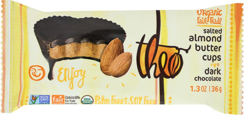 Theo Chocolate Salted Almond Butter Cups - Dark Chocolate - Case Of 12 - 1.3 Oz.