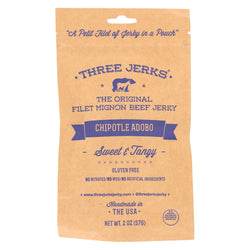 Three Jerks Jerky Filet Mignon Chipotle Adobo Jerky - Sweet And Tangy - Case Of 12 - 2 Oz.