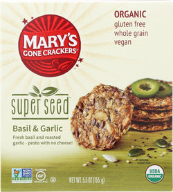 Mary's Gone Crackers Super Seed - Basil$ Garlic - Case Of 6 - 5.5 Oz.