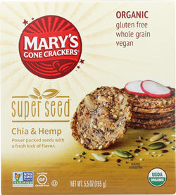 Mary's Gone Crackers Super Seed- China And Hemp - Case Of 6 - 5.5 Oz.