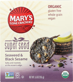 Mary's Gone Crackers Super Seed - Seaweed And Black Seaseem - Case Of 6 - 5.5 Oz.