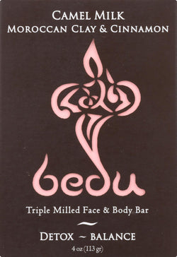Bedu Face And Body Bar - Moroccan Clay And Cinnamon - Case Of 6 - 4 Oz.
