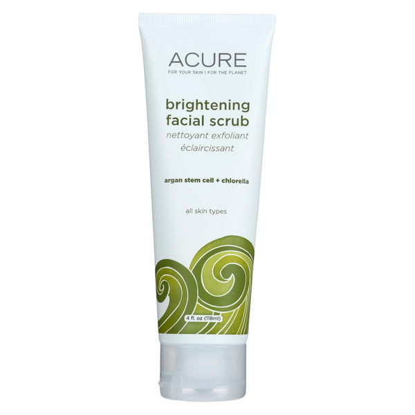 Acure Brightening Facial Scrub - Argan Extract And Chlorella - 4 Fl Oz.