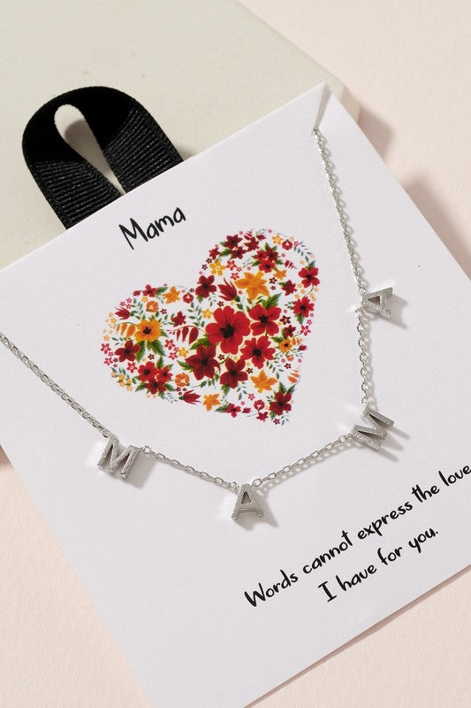 MAMA letter charm gold dipped short necklace