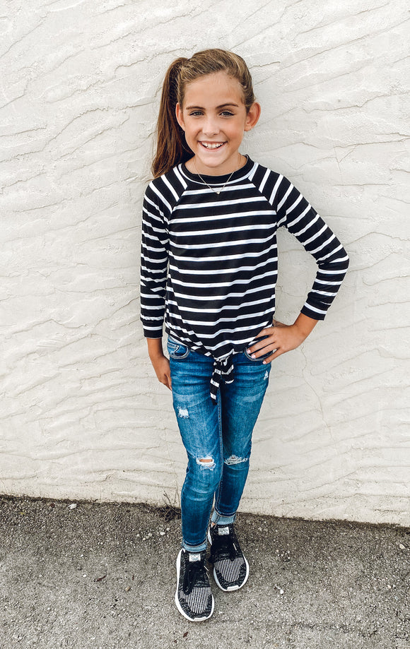 Kids Size Stripe Tied Tunic Top