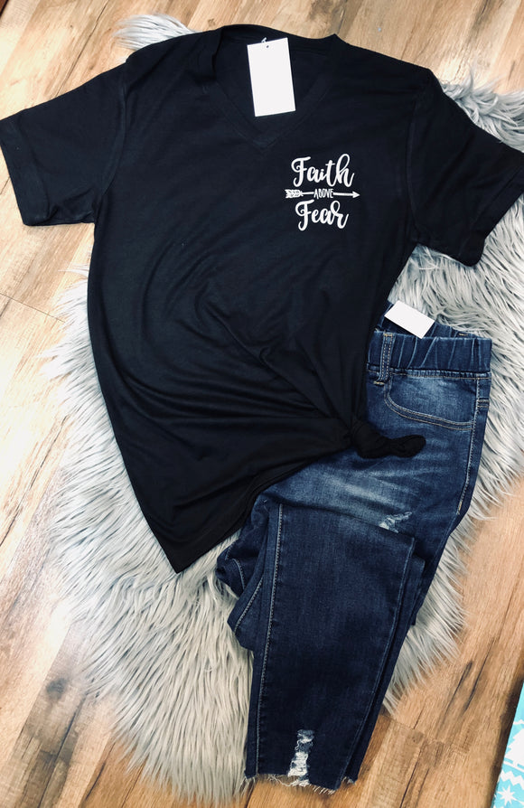 Faith above Fear Vneck Tee
