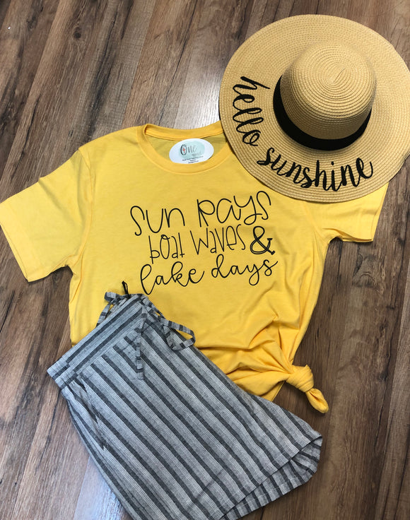 Sun Rays Boat Waves and lake days tee