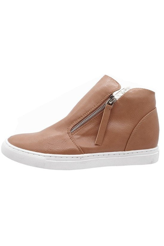 Women's Side Zipper Hidden Wedge Sneaker