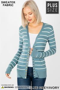 Plus Stripe Snap Cardigan