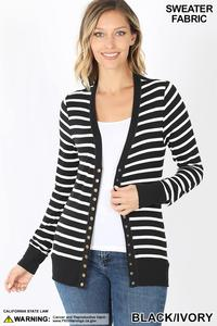 Striped Snap Cardigan