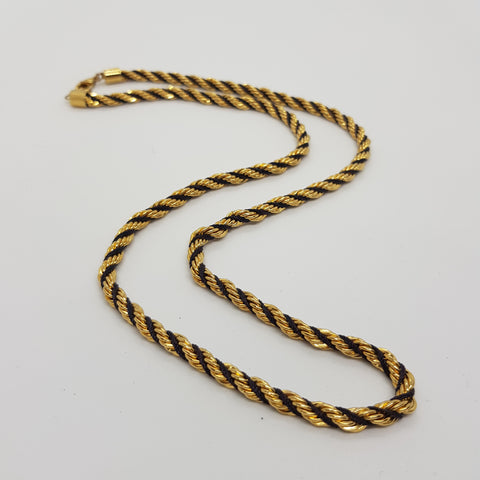 Napier Black and Gold Twisted Long Necklace