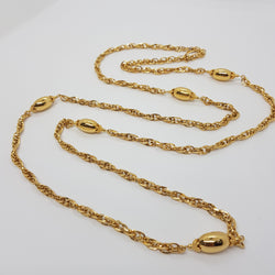 Monet Gold Tone Chain Necklace with Oval Beads