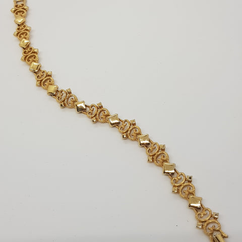 Diamond Pretzel Design Gold Bracelet