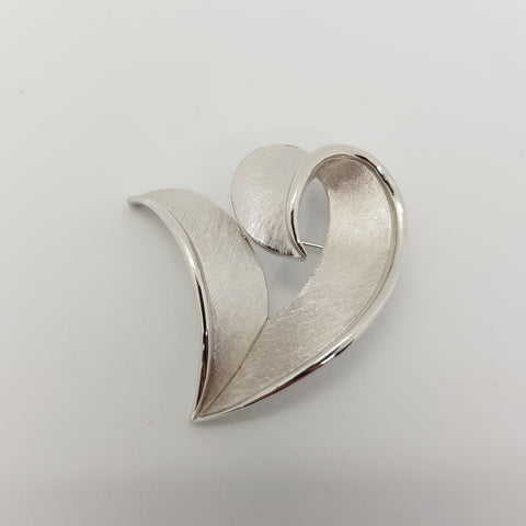 Trifari Silver Heart Brooch