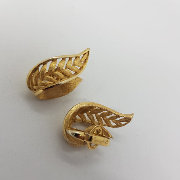 Trifari Leaf Earrings