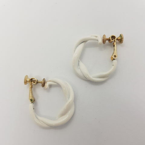 Trifari White Hoop Earrings