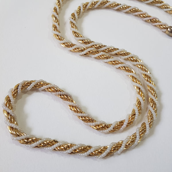 Trifari Pearl and Gold Wrap around Necklace