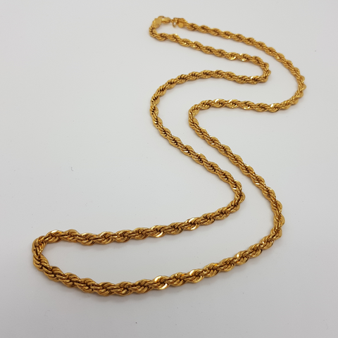 Twisted Classic Long Gold Necklace