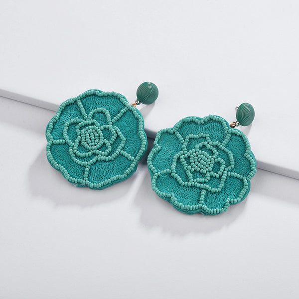 Teal Full Bloom Studs