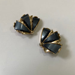 Black Fan Clip-on Earrings by ART
