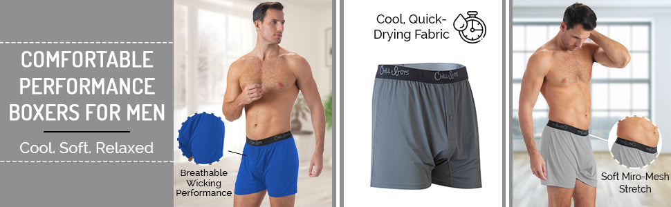 Men's breathable performance boxers, chill boys boxer shorts