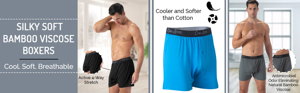 bamboo boxers, chill boys bamboo boxer shorts for men, bamboo underwear