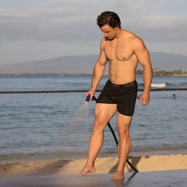 male model on beach in boxers, boxer shorts underwear model