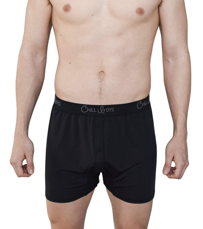 black boxers on model. Chill Boys relaxed fit boxer shorts