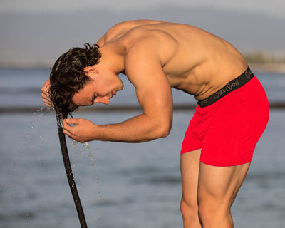 male model wearing red boxers