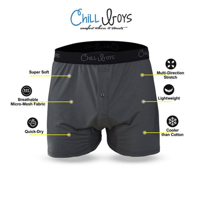 Chill Boys Performance Boxers - Cool, Soft, Breathable Men's Bamboo Underwear