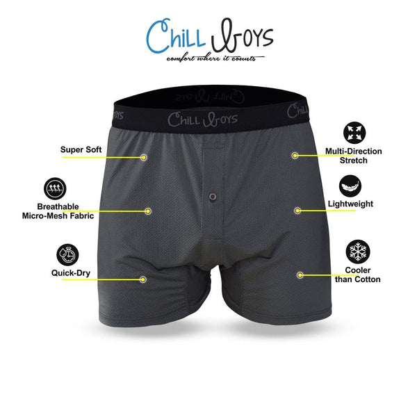 Gray Chill Boys Performance Boxers for Men