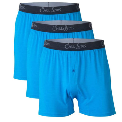 Chill Boys Soft Bamboo Boxers - Plush Luxury Men's Boxer Shorts - 3-Pack in Cool Blue