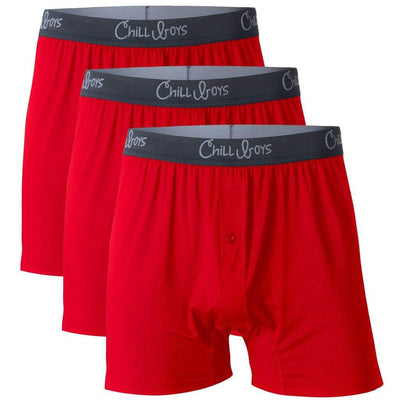Chill Boys Soft Bamboo Boxers - Plush Luxury Men's Boxer Shorts - 3-Pack in Red