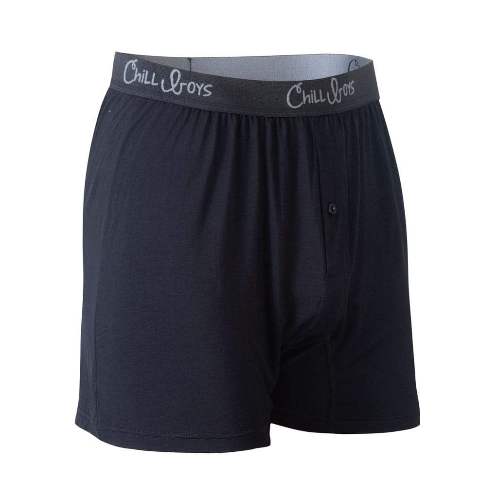 Chill Boys Soft Bamboo Boxers - Plush Luxury Men's Boxer Shorts - Black