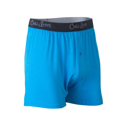Chill Boys Soft Bamboo Boxers - Plush Luxury Men's Boxer Shorts - Cool Blue