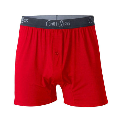 Chill Boys Soft Bamboo Boxers - Plush Luxury Men's Boxer Shorts - Red