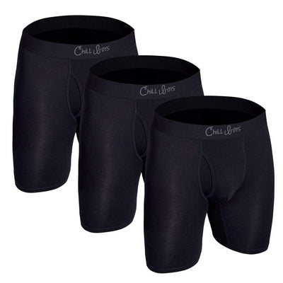 Soft Bamboo Boxer Briefs with Anti-Chafing Glide Zone - 3-Pack in Bamboo Black