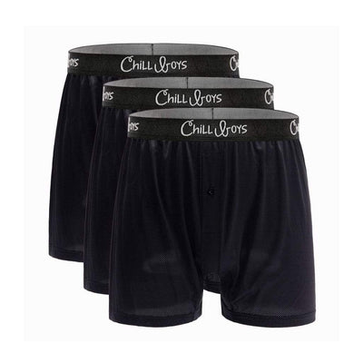 Chill Boys Performance Boxers - Cool, Soft, Breathable Men's wicking Underwear - 3-Pack in Black