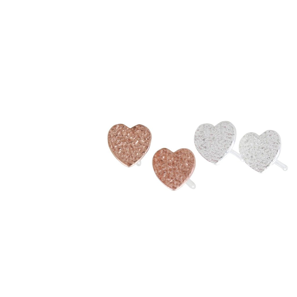 TEXTURED HEART STUDS SET-Earring-MODA MEDINA