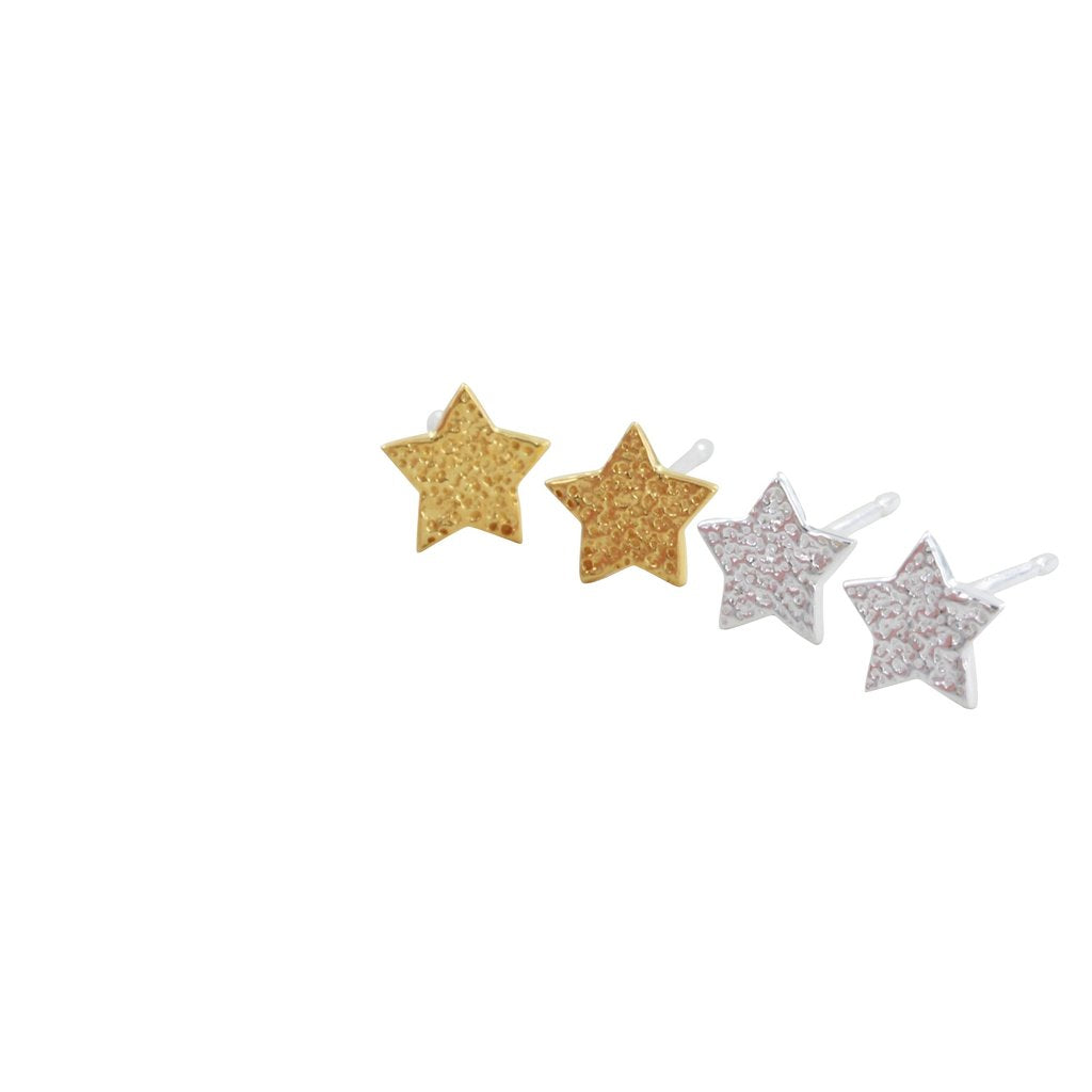 TEXTURED STAR STUDS SET-Earring-MODA MEDINA
