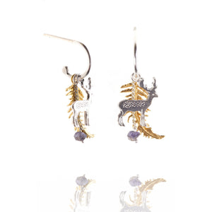 Stag and Fern Earrings on Half Hoops - MODAMEDINA