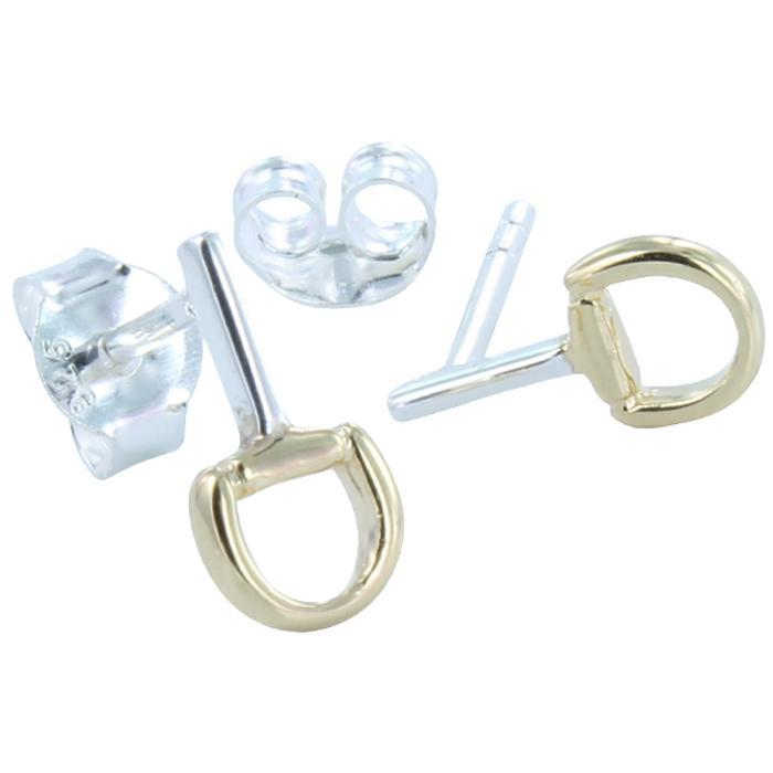 Snaffle Mini Stud Earring with Gold ff-Earring-MODA MEDINA