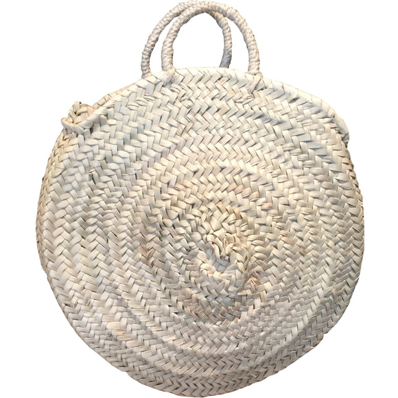Round Twin Handle Basket Bag x - MODAMEDINA
