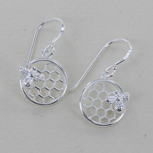 Bee & Honeycomb Drop Earrings-Earring-MODA MEDINA
