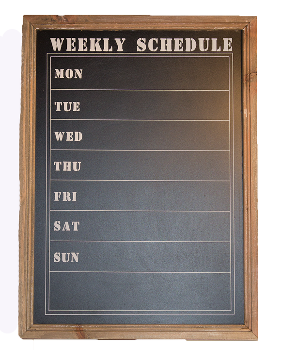 Weekly schedule chalk board - MODAMEDINA