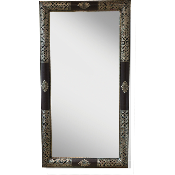 White metal Leather Mirror - MODAMEDINA