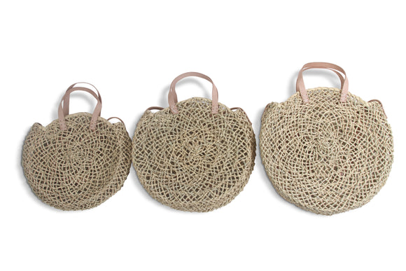 Round basket bag with long strap - MODAMEDINA
