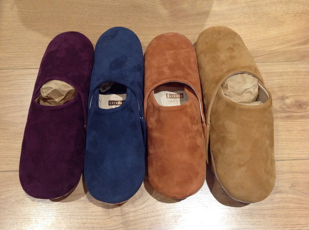 Men's Suede Slippers FF-Babouches-MODA MEDINA
