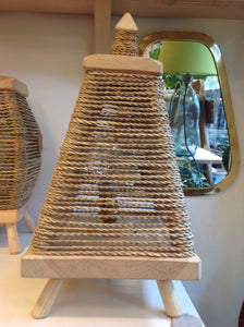 Rope and Wood Table Lamp Pyramid