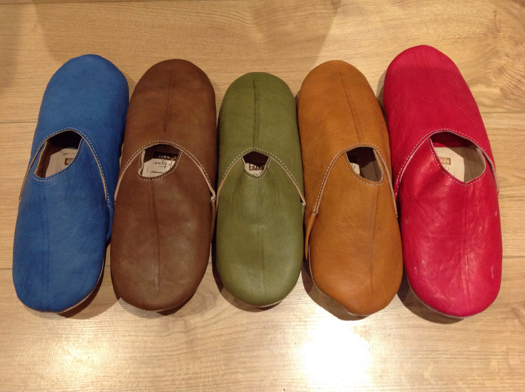 Men's Plain Leather Slippers FF-Slippers-MODA MEDINA